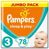 Couches pampers Sleep & Play Taille 3 - Jumbo + - x78