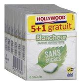 Hollywood Chewing gum blancheur  Menthe verte 5+1 gratuit - 84g