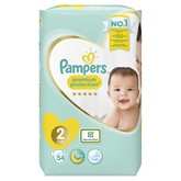 Pampers Couches  Premium Protect T2 : 3/6kg - x54 changes
