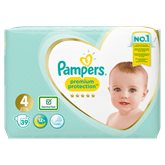 Pampers Couches  Premium Protect T4 : 8/16kg - x39 changes